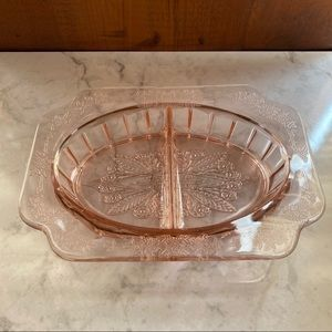 Pink Depression Glass Vanity Jewelry Dish